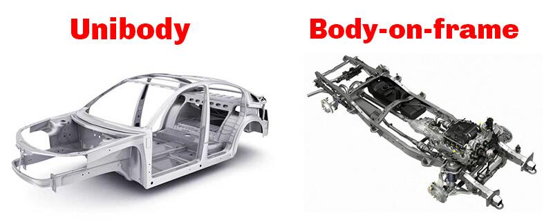 Cấu trúc Unibody và Body-on-frame